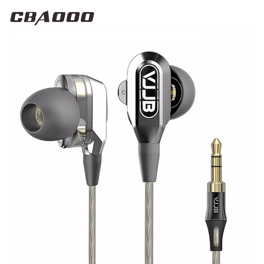 VJJB V1 V1S Double Unit Driver In Ear Metal Earphones HIFI Bass Stereo Earphone With Mic for V1S vjjb v1 v1s earphone with mic dual driver speakers hifi quality sound metal in ear headset stereo bass monitor sport earbuds