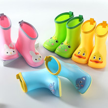 Cartoon Duck Wide-toe Rain Boots Kids For Boys Girls Rain Boots Waterproof Baby Non-slip Rubber Water Shoes Children Rainboots(China)