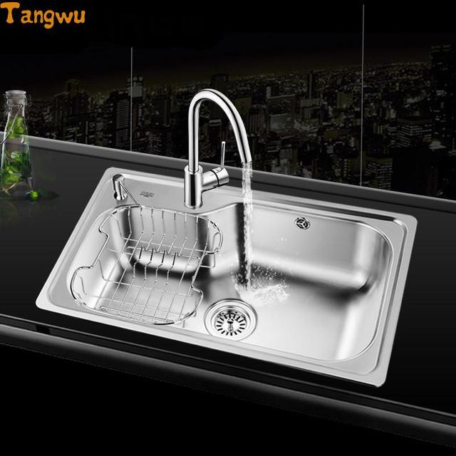 Free Shipping New Kitchen Sink Single Slot 304 Stainless Steel Single Trough  Single Trough Kitchen Dishes