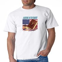 Patriotic T Shirt American By Birth Christian The Grace Of God Jesus Mens Tee  Free shipping Tops t-shirt Fashion