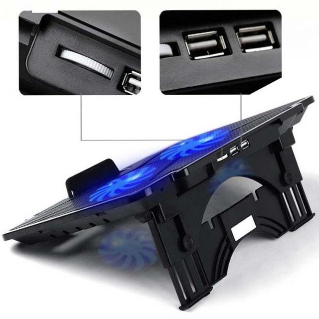 Laptop Cooler Cooling Pad Adjustable Chill Mat Stand with 2 LED Fans for 15.6 2