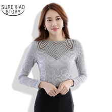 2016 New spring  Women Lace shirt Tops Patchwork Sexy hollowed out Women blouse Plus size clothing 349J 25