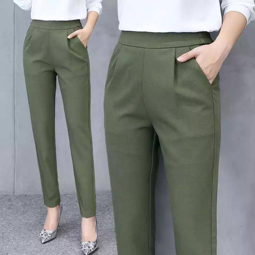 Women's Pants Casual Fashion Solid Mid Elastic Waist Long Trousers Office Plus Size Women Joggers Sweat Skinny Pencil Pant Black 8