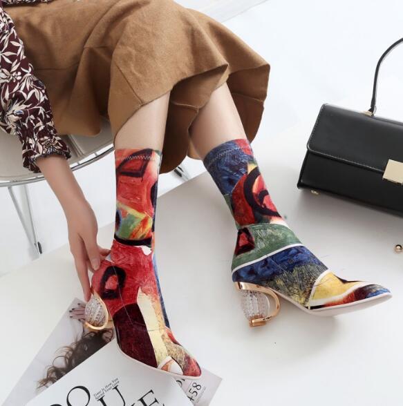 Tissu Pic Cuisse Chunky as Stretch Chaussette Mélangée Haute As Pic Bottes Genou Femmes Clair Talons Femme Chaussures 2019 Couleur Sur Chic Longue Élégant 1ORRP0x