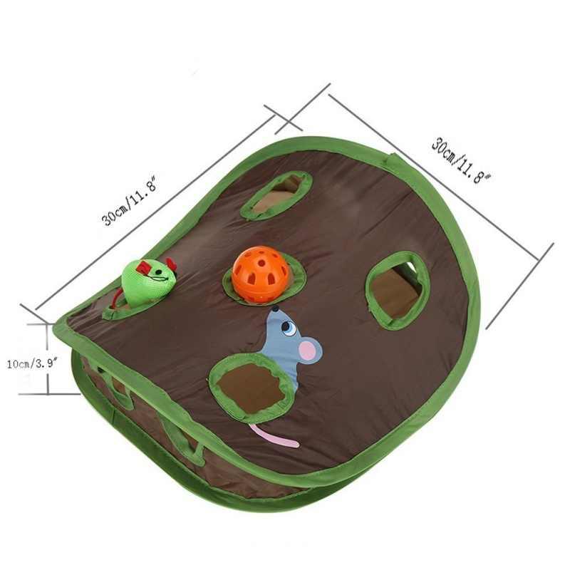 고양이 숨기기 및 찾기 게임 9 구멍 터널 마우스 사냥 정보 장난감 애완 동물 숨겨진 구멍 새끼 고양이 대화 형 접이식 장난감
