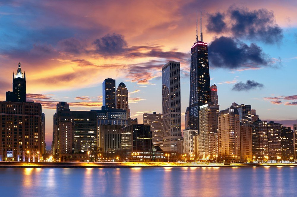 Chicago City Skyline photo backdrop Vinyl cloth High quality Computer printed party photo studio background