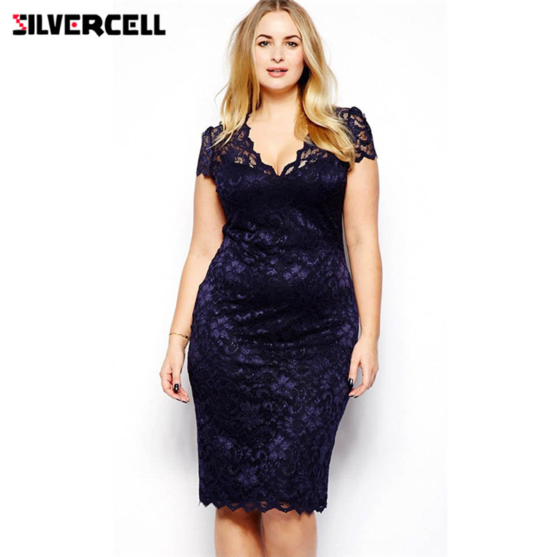 Women Summer <font><b>Dress</b></font> Plus Size <font><b>Sexy</b></font> Pencil <font><b>Bodycon</b></font> <font><b>Dress</b></font> Short Sleeve V Neck Slim Fit <font><b>Blue</b></font> Lace vestidos image