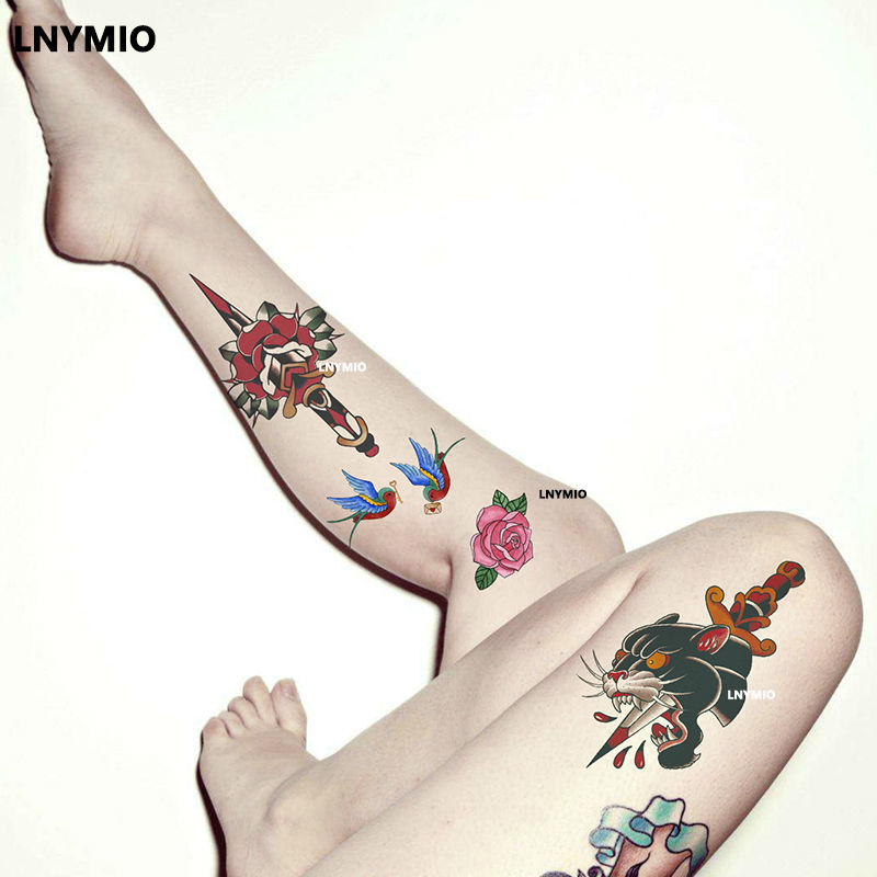 17 Lnymio temporary tattoo pretty flower large size pink and blue body art tattoo sticker 5