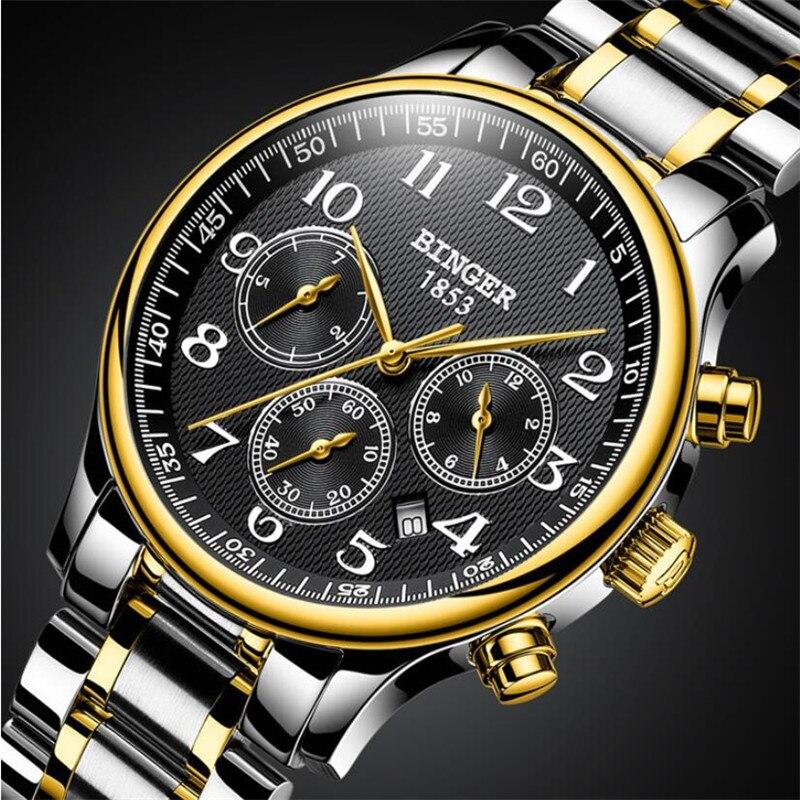 سويسرا بينغر ستة إبر الميكانيكية للرجال ساعات الأعلى العلامة التجارية الفاخرة الفولاذ المقاوم للصدأ ثلاثة بطلب صغير ساعات أوتوماتيكية الرجال-في الساعات الميكانيكية من ساعات اليد على  مجموعة 2