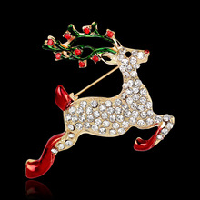 MloveAcc Enamel Rudolph Deer Brooches Pins Corsage Christmas Gifts New Year Fashion Women Rhinestones Christmas Brooch