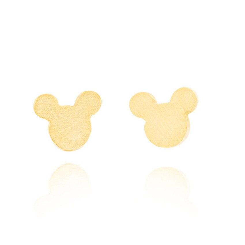Women Girls Classic Earrings Cute Tiny Cartoon Mouse Head Comic Book Ear Studs Fashion Jewelry Stainless Steel Bijoux Orecchini