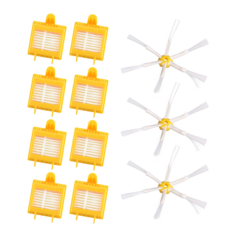 Replacement 8 Hepa Filters + 3 Side Brush 6 Armed for iRobot Roomba 700 Series 760 770 780 Vacuum Cleaning Robotic Accessory стоимость
