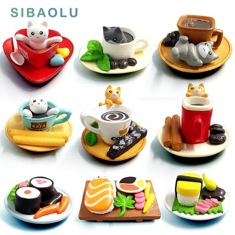 Kawaii Cute Sushi Dessert Cat Figurine Mini Animal Home Decor Miniature Fairy Garden Decoration Accessories Modern Bonsai Figure