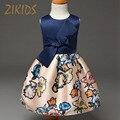 Crianças Vestido Da Menina de Flor Vestidos Para Meninas Casual Crianças Roupas Sem Mangas vestido de Baile Colorido Marca Criança Costume (Azul Vermelho)
