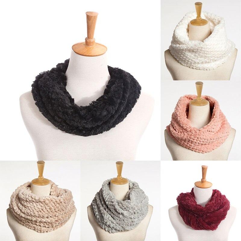 Ladies Women Soft Winter Warm Long Scarf Shawl Imitation Rabbit Hair Knit Cowl