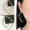 Brincos para as mulheres | Brincos moda jóias Grandes anéis de orelha quadrado moda brincos exagerados mulheres sem clipe de orelha furada