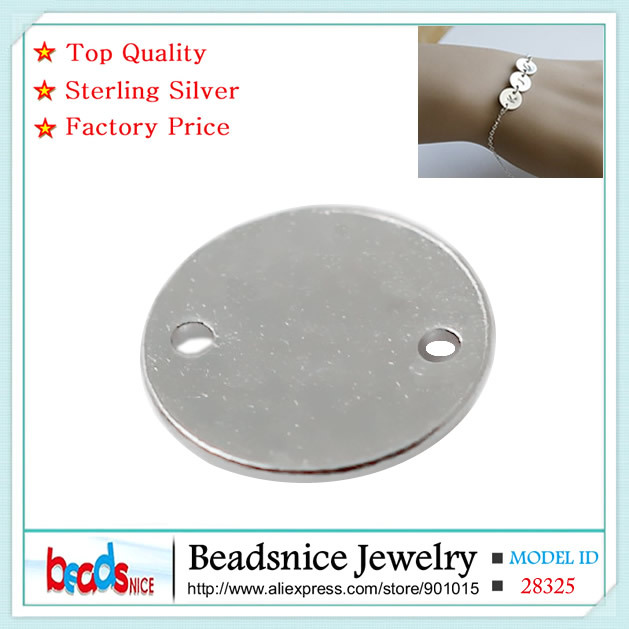 Beadsnice Blank Silver Tag Charm Connectors For Stamping Personalized 925 Sterling Silver Round Connector For Bracelet ID28325