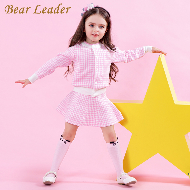 HTB1D0esbjoIL1JjSZFyq6zFBpXaJ Bear Leader Girls Dress 2019 Winter Geometric Pattern Dress Long Sleeve Girls Clothes Top Coat+ Tutu Dress Sweater Knitwear 2pcs