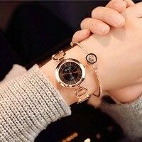 New Fashion Rhinestone Watches Women Luxury Brand Stainless Steel Bracelet Watches Ladies Quartz Dress Watches Reloj