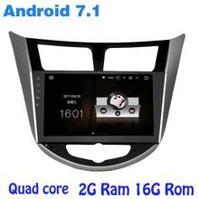 Quad core Android 7.1 radio de coche gps para hyundai Verna Solaris I25 con 2G RAM wifi 4G RDS USB audio estéreo espejo enlace sáb NAVI