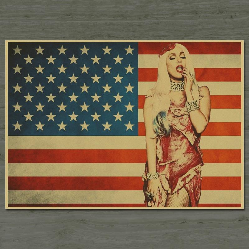 Classic USA Sexy Lady Gaga Nostalgic Poster Retro painting Living Room Vintage Wall Sticker bar cafe decor 42x30cm