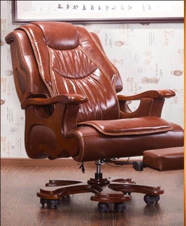 Купить с кэшбэком Office chair swivel chair. Real wood boss chair. Lift massage can lie in the computer chair.03