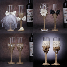 2pcs Set Wedding Glass Creative Linen Crystal Champagne Glasses Lace Dress Goblet Red Wine Cup Decoration