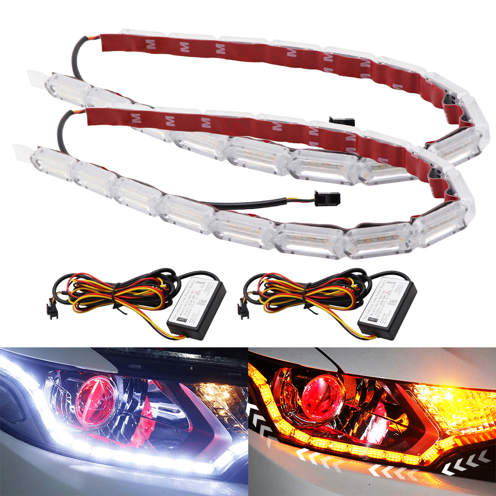 2pcs Flexible LED Strip DRL Daytime Running Light Turn Signal Waterproof Flowing White Yellow Car Front Headlamp Driving Light in Car Light Assembly from Automobiles Motorcycles