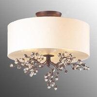 Европейский белый круглый потолочный светильник оригинальность теплый лампы гостиная столовая спальня ткань декоративная потолочный све