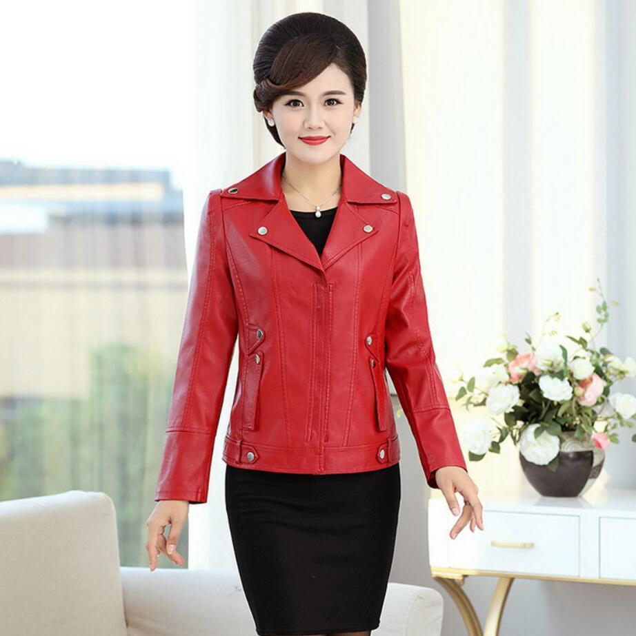 Fashion Spring Autumn Soft Faux   Leather   Jackets Women Plus Size 6XL Lady Motorcycle Zippers Biker Coats Black Outerwear r1346