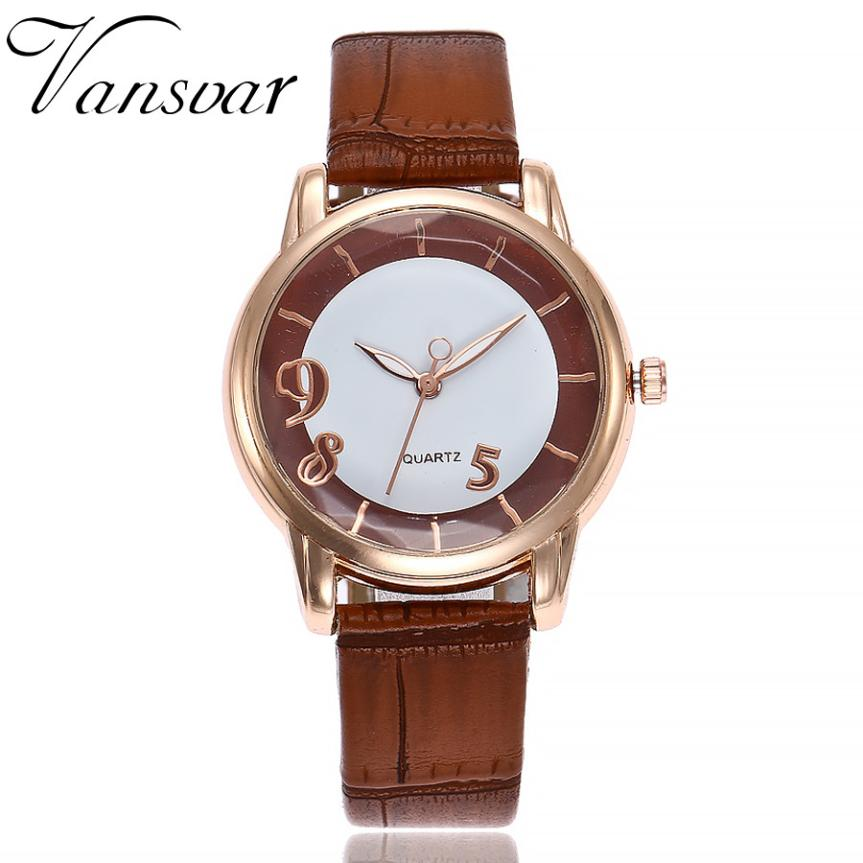 vansvar Women's Casual Quartz Leather Band Newv Strap Watch Analog Wrist Watch Relogio Feminino Women Watches Reloj Mujer Bayan newest 8colors claudia special fashion women stainless steel leather band quartz analog wrist watches dropship reloj mujer