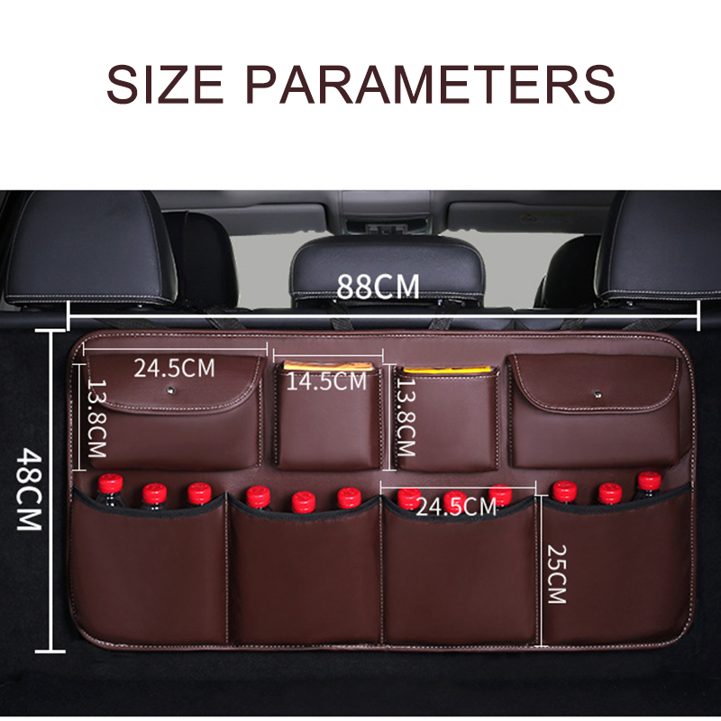 Image 2 - O SHI CAR PU leather Car Rear Seat Back Storage Bag Multi use Car Trunk Organizer Auto Stowing Tidying Auto Interior Accessories-in Stowing Tidying from Automobiles & Motorcycles