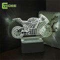 Art Deco de Cristal Lâmpadas LED pode ser escurecido Crianças Quarto Luz Sono 3d Motocicleta Lâmpada de Mesa Interruptor de Toque NightLight Quarto Presente