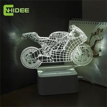 Luz regulable Cristal Art Deco Lámparas LED Niños Dormitorio Sueño 3d Motocicleta Interruptor Táctil Dormitorio de Noche Lámpara de Mesa de Regalo