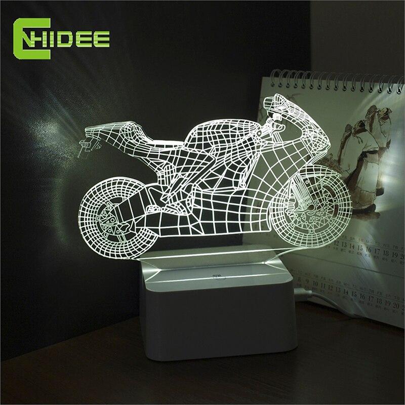 Dimmable cristal art deco Lámparas LED niños dormitorio luz del sueño 3D motocicleta lámpara de mesa Nightlight Touch switch dormitorio regalo