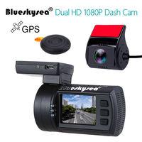Blueskysea мини 0906 Dual тире камера Full HD 1080p автомобиля камера Sony imx291 Exmor сенсор двухканальный приборной панели автомобиля регистраторы