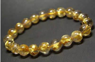 Huij 001671 высокое качество натуральный золотистый Рутиловый Кварц кварц круглый браслет из бисера 9 9,5 мм
