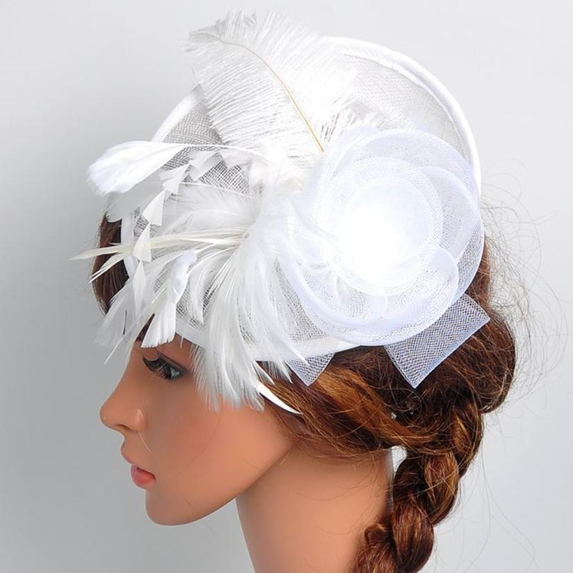 Hot Selling Fashion Women Fascinator Mesh Hat Ribbons And Feathers Wedding  Hat For Women 7.3(China)