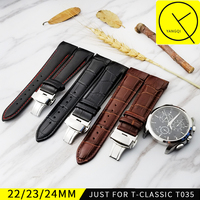 Calf Leather WatchBand For Tissot Watch T CLASSIC COUTURIER Watch T035 Watchstrap Black Brown 22mm T035407