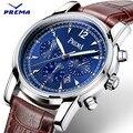 Prema moda hombres relojes de primeras marcas de lujo banda de cuero relojes deportivos azul dial reloj de los hombres reloj de cuarzo reloj de pulsera relogio masculino