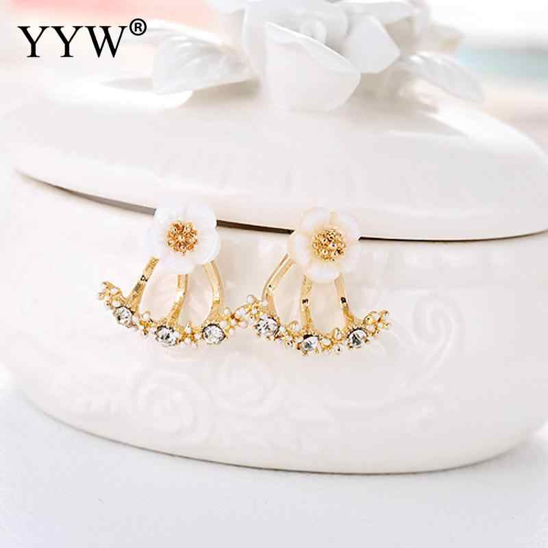2018 New Zircon Crystal Ear Cuff Clip Flower Stud Earrings For Women Jacket Piercing Earring Gold/Rose Gold Fine Jewelry Brincos