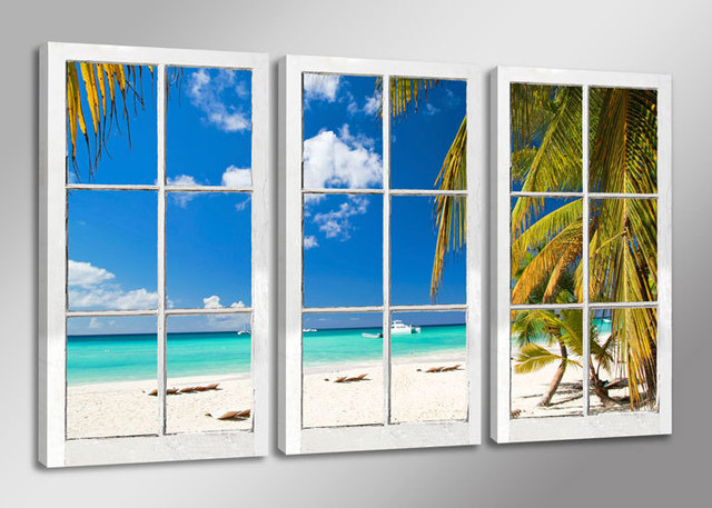 Blue sky green seaside coconut 3 panels set hd canvas print painting