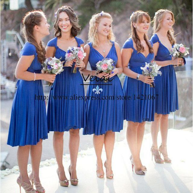 Us 53 95 Fast Shipping Royal Blue Short Bridesmaid Dresses For Beach Weddings Party 2016 Ruched Chiffon V Neck Formal Party Gown Ds242 In Bridesmaid