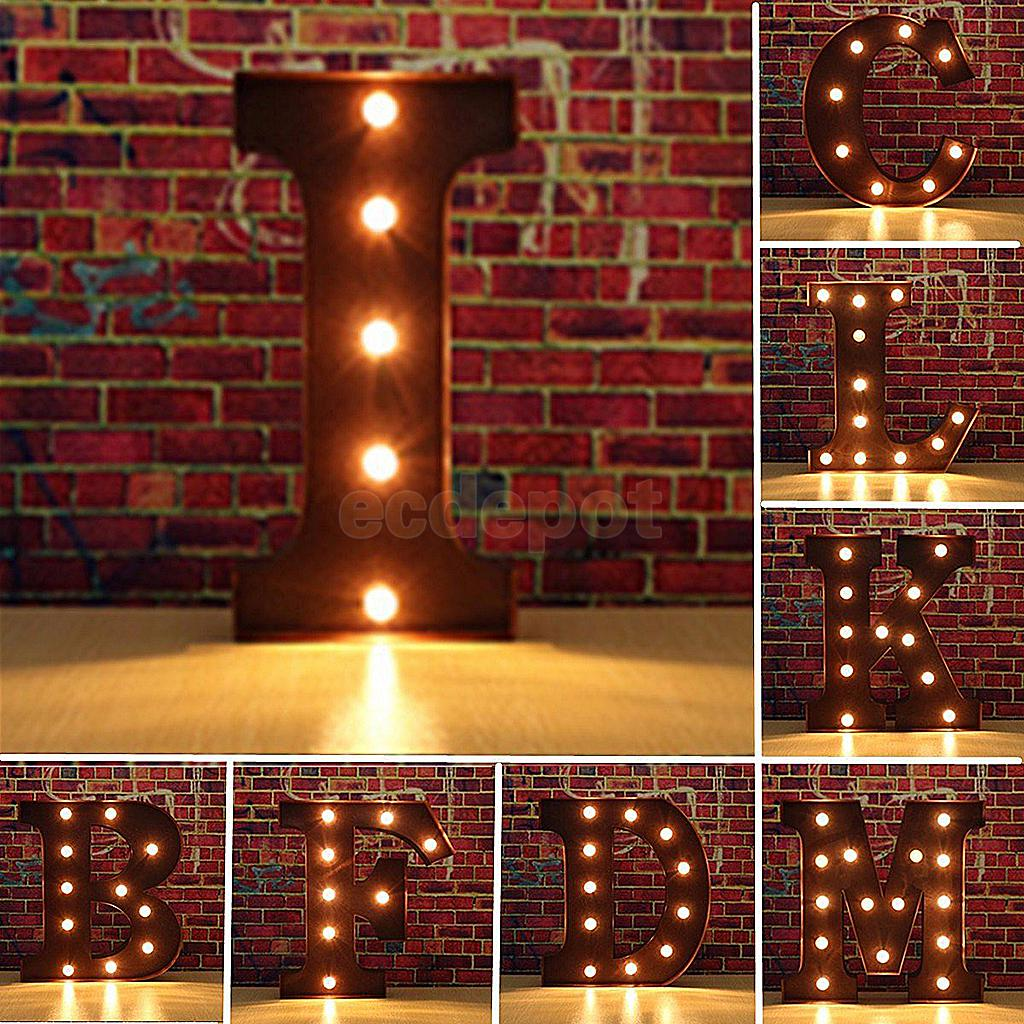 Metal Letter Signs With Lights 12'' Abs Metal Led Letter Light Vintage Circus Style Alphabet