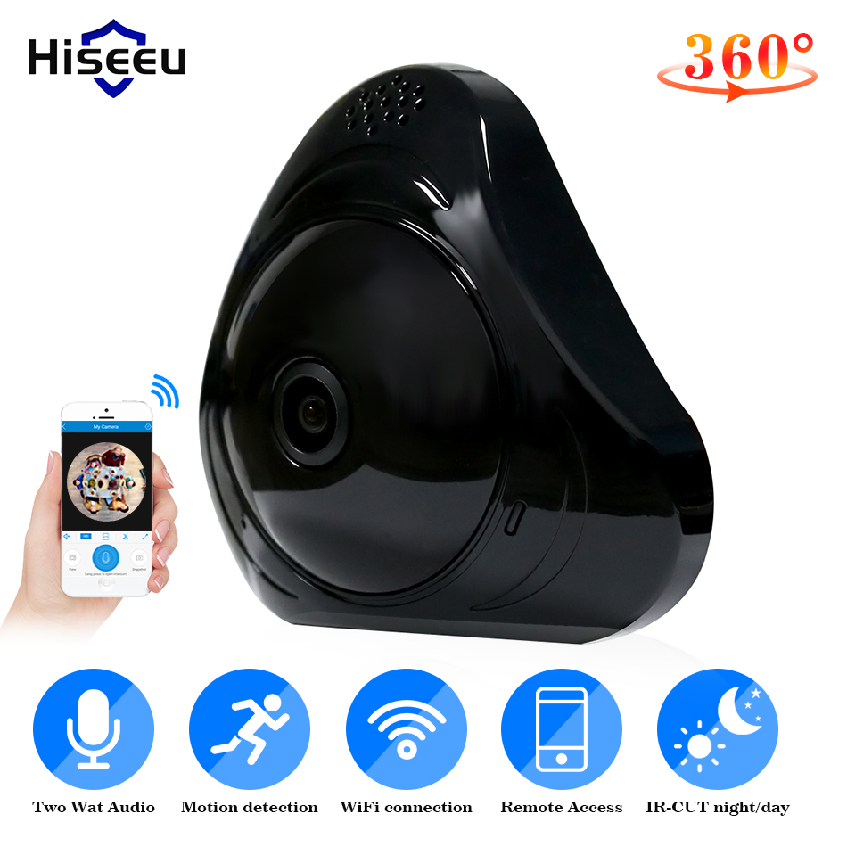 Hiseeu wifi FishEye IP camera 360 degree Mini CCTV Camera wireless 1.3MP Network Home Security Camera Panoramic wide view angel цена