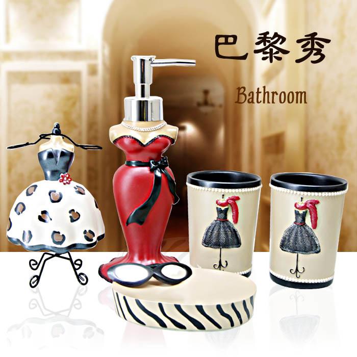 Fashion 5 pcs resin bathroom accessories set quality for Good quality bathroom accessories