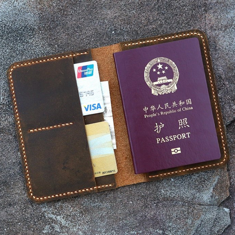 huge discount 219c0 98b13 US $28.99 |Hand Stitched Personalized leather passport card case / passport  wallet / vintage retro distressed leather passport holder cover-in Travel  ...