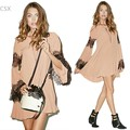 2015 New Women Casual Loose Dress Sexy Long Sleeve O-Neck Lace Splicing Chiffon Dress Plus Size Dresses 22