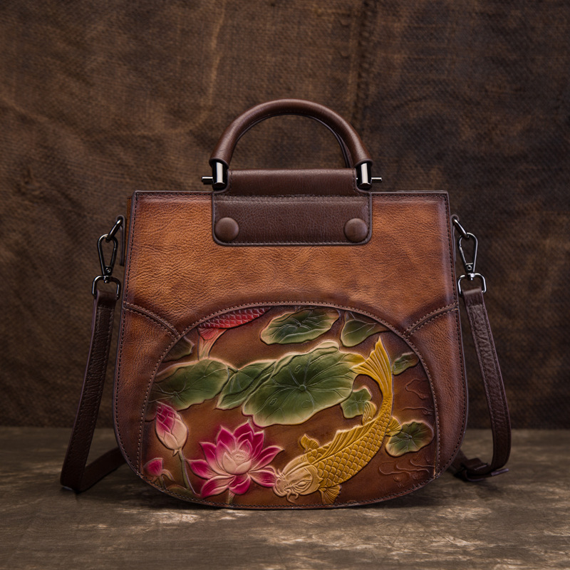 High Quality Cowhide Messenger Genuine Leather Women Tote Shoulder Bags Fish Lotus Pattern National Style Female Top Handle BagHigh Quality Cowhide Messenger Genuine Leather Women Tote Shoulder Bags Fish Lotus Pattern National Style Female Top Handle Bag