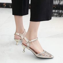 цены Thin Heels Openwork sandals women 2019 summer shoes women Fashion Sexy Buckle High heels pumps comfortable Party female shoes